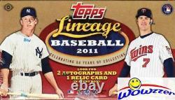 2011 Topps Lineage Baseball MASSIVE Factory Sealed HOBBY Box-3 AUTO/RELIC