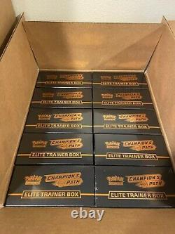 Pokemon Champion's Path Elite Trainer Box Factory SEALED Case 10 Boxes 100 Packs